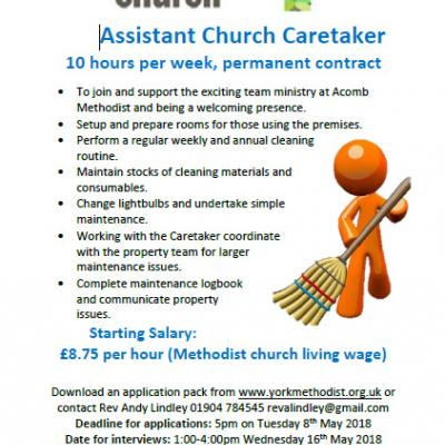 Job Ad Acomb Assistant Caretaker